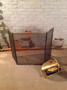 Antique brass trim mesh fireplace screen and wood log rack