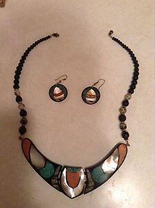 Australian opal necklace and earrings