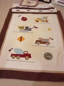 Kids twin bed spread, sham, valance and pictures