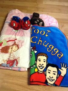 Blankets and slippers (Wiggles, Spiderman, Strawberry Shortcake)