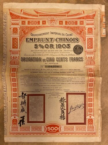 China Chinese Government: 1905 Kaifeng-Luoyang Railway, Bond for 500 francs