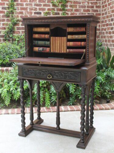Antique French Walnut BARLEY TWIST Vargueno Secretary Campaign Chest Desk