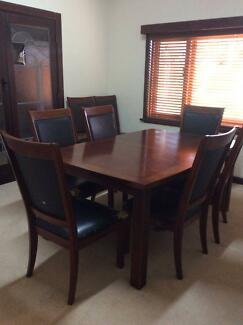 PARQUET DINING TABLE AND CHAIRS--SEATS 6 TO 8 Nedlands Nedlands Area Preview
