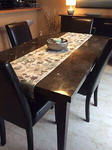 Real MarbleTop Dining Table & 4 Leather Chairs