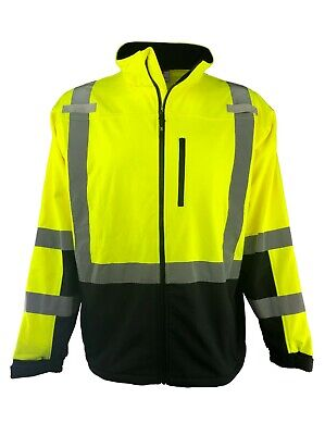 Hi Vis Safety Soft Shell Jacket Full Zip Ansi Class 3 Mens S-6xl