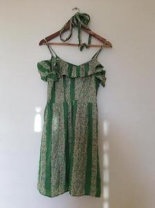 Vibrant Stella Silk Green and Pink Summer Dress - Size 10 Fannie Bay Darwin City Preview