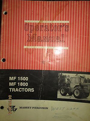 Massey - Ferguson Mf1500 Mf1800 Tractors Operators Manual Factory Original 1970