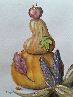 Pumpkins Candy Thanksgiving Halloween Watercolor Painting Fall Still Life 9x12