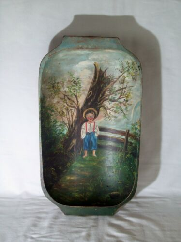 Primitive Wooden Trencher Dough Bowl ~ Truly One of a Kind Hand Painted Folk Art