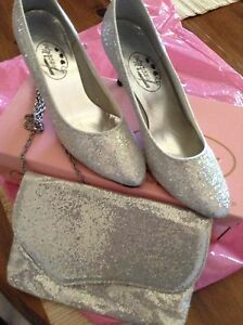 Silver glitter shoes and hand bag