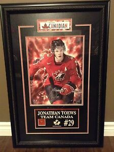 Autographed Jonathan Toews Team Canada Artwork.