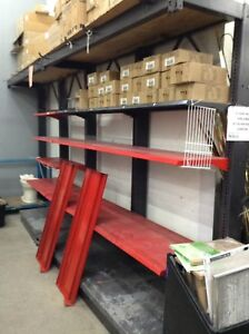 Metal shelving at the Waterloo restore