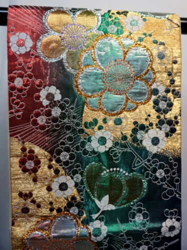 "Japanese Kimono SILK Fukuro OBI, Rokutu ,Gold/Silver/Lame, Ume(plum),L168""..2024"