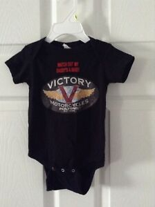 Black Victory Motorcycle Onesie Size 12 months