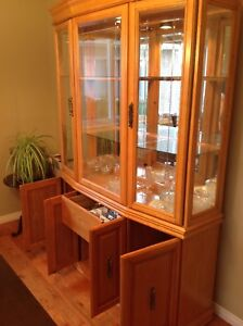 Large solid wood china cabinet