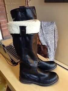 Brand New Faux Leather Boots with Shearling (Size 9-5-10.5)