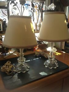 Pair Vintage Glass Boudoir Lamps