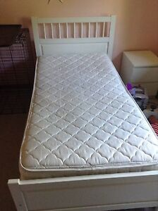 IKEA single white bed  with matching night stand and dresser