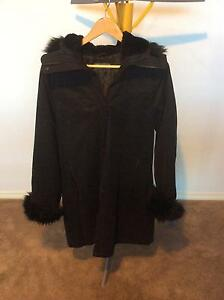 Jacque E black fur lined hooded jacket size Medium Amaroo Gungahlin Area Preview