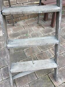 Vintage mid century rustic very heavy wooden A ladder 164cm high Doubleview Stirling Area Preview