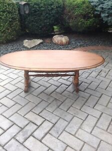 Coffee table and matching drop leaf side table