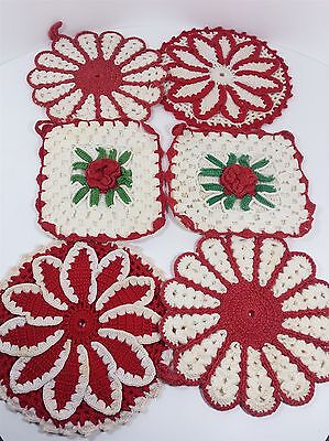 Lot of 6 Vintage Red and White Crocheted Cotton Hot Pads Pot Holders