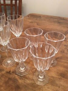 2 sets of 4 real crystal wine glasses