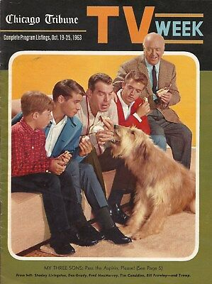 Rare 1963 My Three Sons Chicago Tribune Tv Week  Still Great Color On Cover