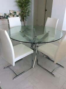 Glass top round dining table 4 chairs Maroochydore Maroochydore Area Preview