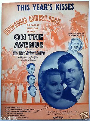 "1937 DICK POWELL ""ON THE AVENUE"" SHEET MUSIC ""THIS YEAR'S KISSES"""