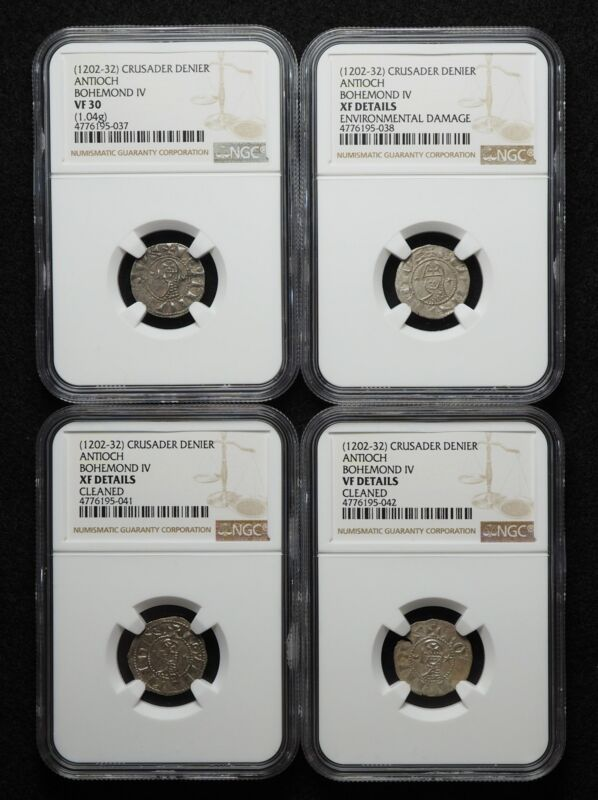 CRUSADERS. Bohemond IV AR Denier, 1202-32 AD. NGC Certified lot of 4