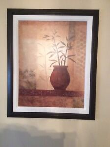 Brown wood frame with vase painting