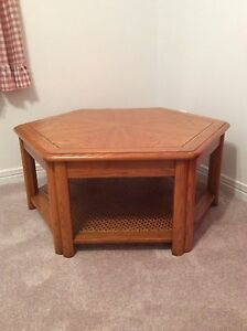 Beautiful Oak hexagon coffee table and end table with drawer