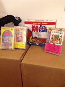 Kids cassette music tapes, old vhs, various books