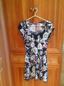 San Francisco red black and white floral dress