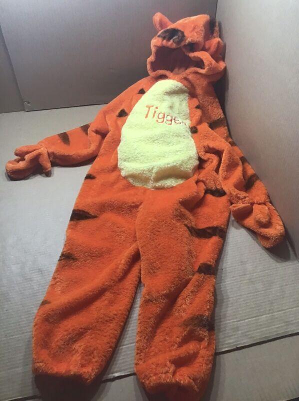 "Tigger Hooded Halloween Costume Disney Plush Fleece 4T Kids Child 33"" Long Warm"