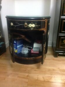 Chinese armoires with drawer and cabinet with top glass .