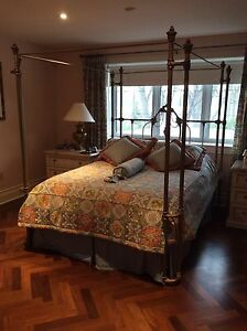 Bedroom set with marble top night tables, purchased at Fraser.