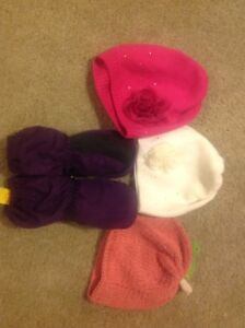 3 cute hats and a pair of Kombi mitts