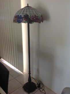 Hand painted glass lamp on iron stand