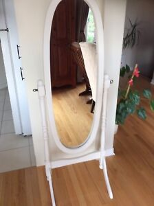 Gorgeous mirror on wooden stand refurbished. Firm price.
