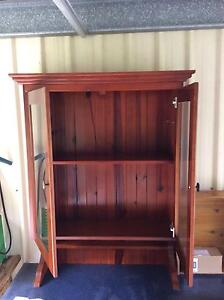 stained wooden cabinet hutch with glass doors Pine Mountain Ipswich City Preview