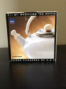 Ekco classic white 2 1/2 QT whistling tea kettle