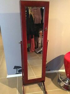 JEWELLERY CABINET AND MIRROR SPACIOUS LARGE, HEAVY CHOCOLATE WOOD St Marys Penrith Area Preview