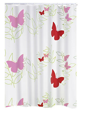 RIDDER Duschvorhang Folie Buterflies rot Schmetterling 180x200 cm inkl. Ringe