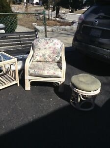 Rattan large chair with table and stool