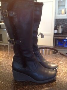 Size 11 - Tall black leather Hush Puppies Boots wedge heels