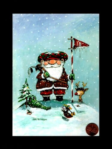 CHRISTMAS Santa Golfing Alligator Penguin  - PATTERSON Greeting Card W/ TRACKING
