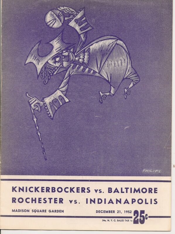 1952-53 New York Knicks-Bullets Royals-Olympians Doubleheader Program NICE!!