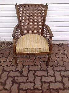 Antique French style chair with wicker tubing back